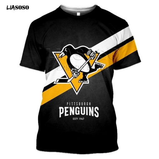 LIASOSO 2020 New 3D Print Animal Skating Penguin Print T shirt Pittsburgh Harajuku Short Sleeve Hockey 2