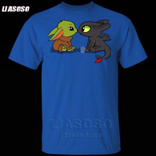 LIASOSO Summer T Shirt Men Women T shirt 3D Print Dragon Fury Baby Yoda T Shirt 5