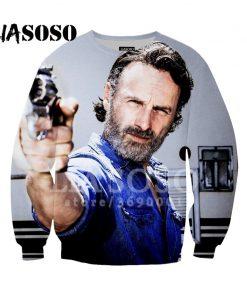 LIASOSO Sweatshirt Harajuku Hoodies 3D Print The Walking Dead Men Women Casual Pullovers Hip Hop O 1