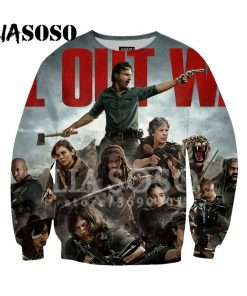 LIASOSO Sweatshirt Harajuku Hoodies 3D Print The Walking Dead Men Women Casual Pullovers Hip Hop O 2