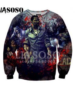 LIASOSO Sweatshirt Harajuku Hoodies 3D Print The Walking Dead Men Women Casual Pullovers Hip Hop O 3