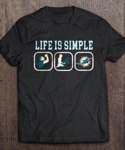 Life Is Simple Miami Streetwear Harajuku 100 Cotton Men S Tshirt Dolphins Tshirts
