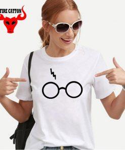 Lightning Glasses T shirt Girls Streetwear Harry Flash Glasses Graphic T Shirt Women Femme Potter lovers