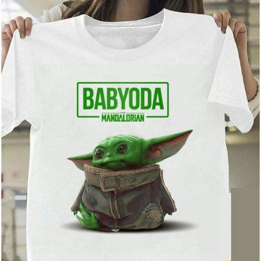 Lovely Baby Yoda T Shirt 2020 Summer Mandalorian T Shirt fashion woman Funny Cartoon The Child
