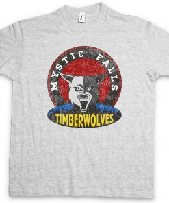 MYSTIC FALLS TIMBERWOLVES T SHIRT Vampire Football Team Diaries Sign Logo