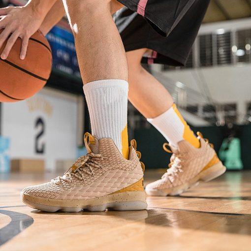 Men Basketball Shoes Sneakers LBJ Basket Trainers Male Ankle Shockproof Couple Elastic Basketball Shoes Zapatillas De 5