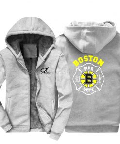 Men Cotton Fashion New Boston Fire Fighter Fire Department Black Sweatshirt Hip Hop Tops Jacke Hoodies 1