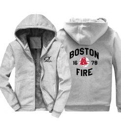 Men Cotton Fashion New Boston Fire Fighter Fire Department Black Sweatshirt Hip Hop Tops Jacke Hoodies