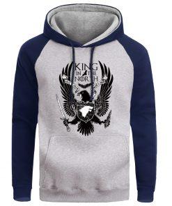 Men Game Of Thrones Hoodie Sweatshirt Hoodies Sweatshirts House Stark Male Wolf Winter Fleece Warm Pullover 2