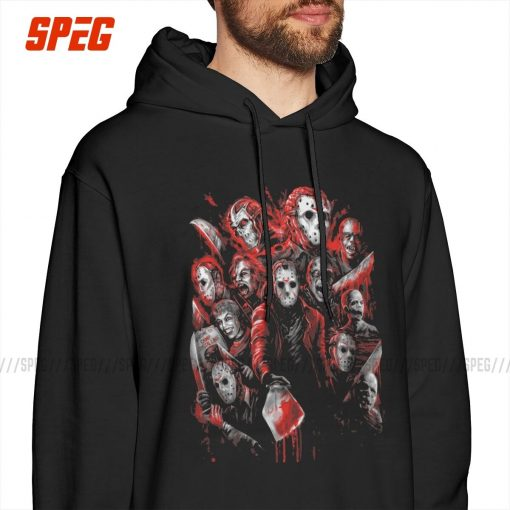Men Hooded Sweatshirt Jason Voorhees Many Friday The 13th Cotton Winter Leisure Hoodie Faces of Horror