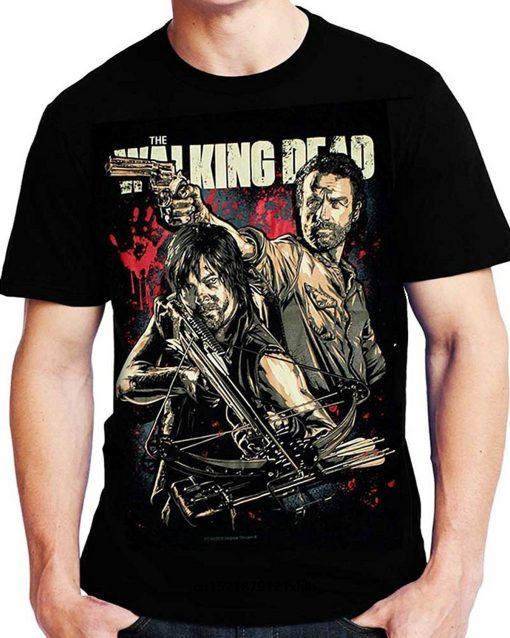 Men T Shirt Fashion The Walking Dead Comic Book Series Rick Grimes Daryl Dixon Cool Women
