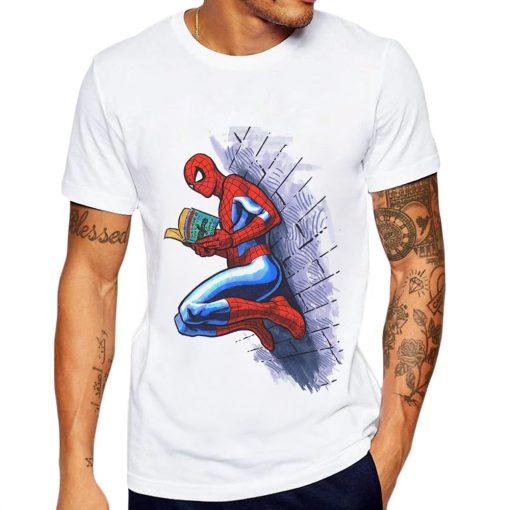 Men T Shirt Funny Spiderman Reading Super Hero 3D Printed Man T Shirt Cool Tops Tee