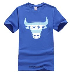 Men Tee Shirt Tops Short Sleeve Cotton Fitness T shirts Men s Chicago Flag Bull T 1