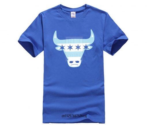 Men Tee Shirt Tops Short Sleeve Cotton Fitness T shirts Men s Chicago Flag Bull T 1