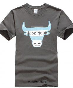 Men Tee Shirt Tops Short Sleeve Cotton Fitness T shirts Men s Chicago Flag Bull T 2