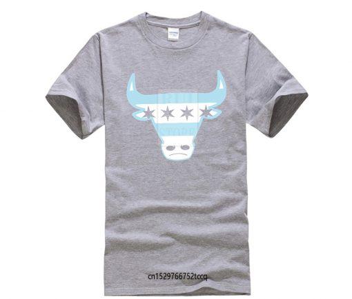 Men Tee Shirt Tops Short Sleeve Cotton Fitness T shirts Men s Chicago Flag Bull T 3