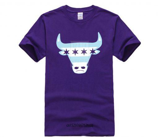 Men Tee Shirt Tops Short Sleeve Cotton Fitness T shirts Men s Chicago Flag Bull T 5
