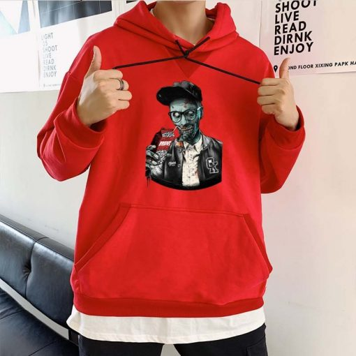 Men fashion long sleeved round neck hoodies Harajuku Walking dead funny printing unisex loose sweatshirt hip 1