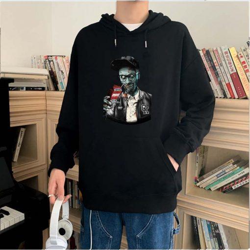Men fashion long sleeved round neck hoodies Harajuku Walking dead funny printing unisex loose sweatshirt hip 2
