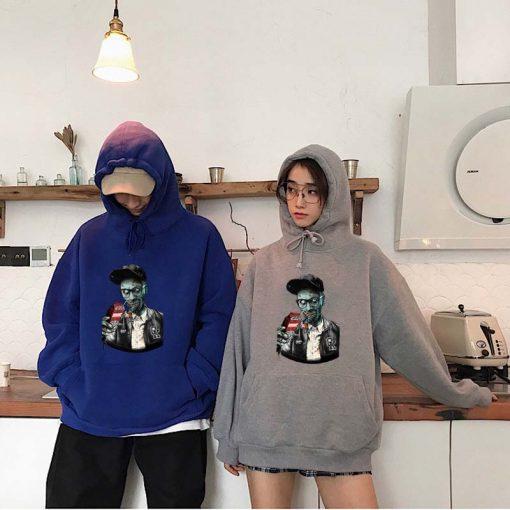 Men fashion long sleeved round neck hoodies Harajuku Walking dead funny printing unisex loose sweatshirt hip 3