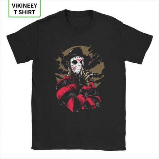 Men s T Shirts Freddy Vs Jason Funny Cotton Tees Customize Horror Movie Halloween Scary Friday 2