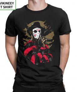 Men s T Shirts Freddy Vs Jason Funny Cotton Tees Customize Horror Movie Halloween Scary Friday