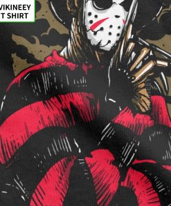 Men s T Shirts Freddy Vs Jason Funny Cotton Tees Customize Horror Movie Halloween Scary Friday 3