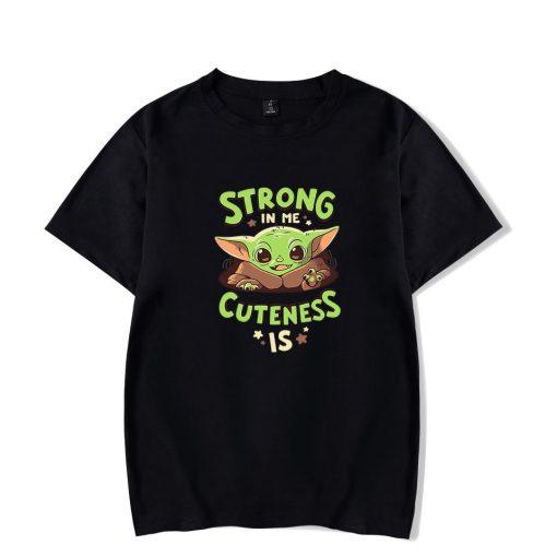 Men s T shirt Summer Cute Baby Yoda T Shirt Camisetas Hombre Mandalorian Star Wars Short