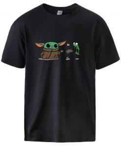 Mens Baby Yoda T shirts Star Wars Mandalorian Cotton T shirts Tops 2020 Hot Sell Man