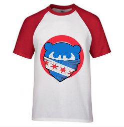 Mens Chicago T Shirt Cubs 100 Cotton Raglan Sleeve T shirt Chicago Flag Fashion Short Sleeve 1