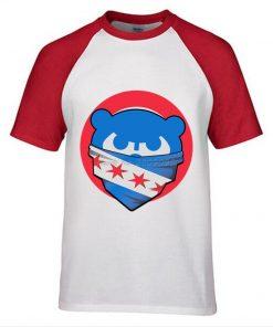 Mens Chicago T Shirt Cubs 100 Cotton Raglan Sleeve T shirt Chicago Flag Fashion Short Sleeve 1