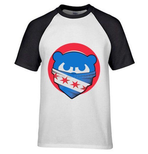 Mens Chicago T Shirt Cubs 100 Cotton Raglan Sleeve T shirt Chicago Flag Fashion Short Sleeve 2