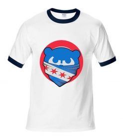 Mens Chicago T Shirt Cubs 100 Cotton Raglan Sleeve T shirt Chicago Flag Fashion Short Sleeve