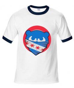 Mens Chicago T Shirt Cubs 100 Cotton Raglan Sleeve T shirt Chicago Flag Fashion Short Sleeve