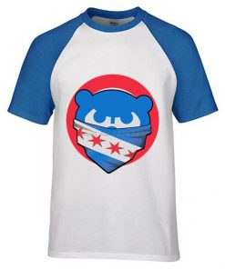Mens Chicago T Shirt Cubs 100 Cotton Raglan Sleeve T shirt Chicago Flag Fashion Short Sleeve 4