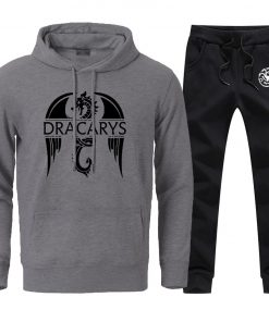 Mens Sets Dracarys Dragon Game Of Thrones Hoodies Pullovers 2020 Male Casual Loose Fashion Sportswear Sweatpants 1