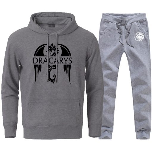 Mens Sets Dracarys Dragon Game Of Thrones Hoodies Pullovers 2020 Male Casual Loose Fashion Sportswear Sweatpants 2