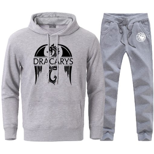 Mens Sets Dracarys Dragon Game Of Thrones Hoodies Pullovers 2020 Male Casual Loose Fashion Sportswear Sweatpants