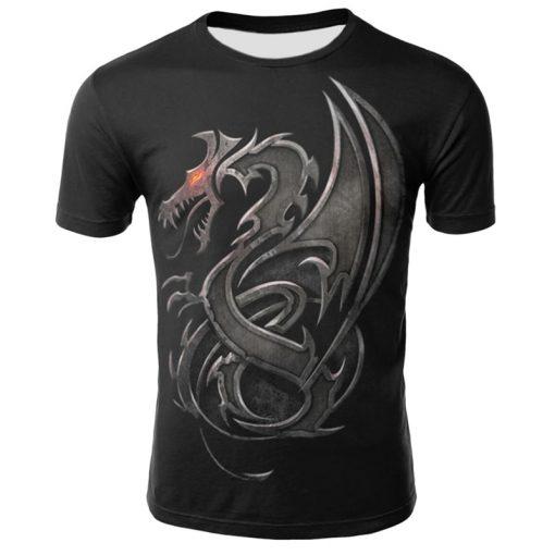 Mens T Shirt Summer Casual O Neck Short Sleeve Tops Tees Cool Dragons Print T shirt 1