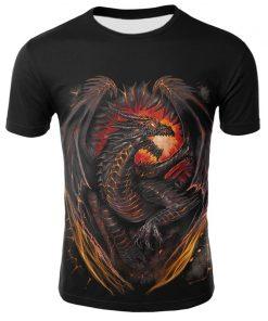 Mens T Shirt Summer Casual O Neck Short Sleeve Tops Tees Cool Dragons Print T shirt 2