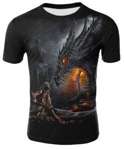 Mens T Shirt Summer Casual O Neck Short Sleeve Tops Tees Cool Dragons Print T shirt
