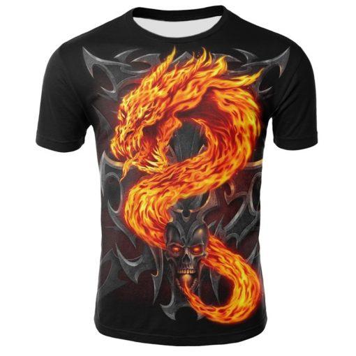 Mens T Shirt Summer Casual O Neck Short Sleeve Tops Tees Cool Dragons Print T shirt 3