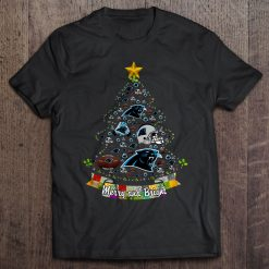 Merry And Bright Carolina Streetwear Harajuku 100 Cotton Men S Tshirt Panthers Christmas Tree Tshirts