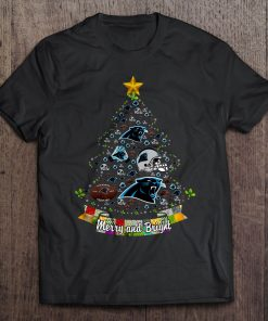 Merry And Bright Carolina Streetwear Harajuku 100 Cotton Men S Tshirt Panthers Christmas Tree Tshirts