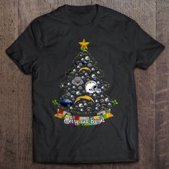 Merry And Bright Los Angeles Chargers Christmas Tree Tshirts