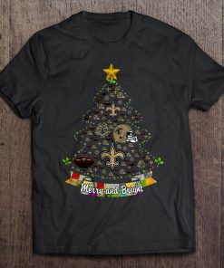 Merry And Bright New Streetwear Harajuku Orleans 100 Cotton Men S Tshirt Saints Christmas Tree Tshirts