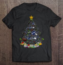 Merry And Bright Seattle Streetwear Harajuku 100 Cotton Men S Tshirt Seahawks Christmas Tree Tshirts
