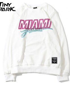 Miami Pullover Sweatshirt Pink Letter Print Men Hip Hop Pullover Sweatshirt Hoodie 2018 Autumn Heat Clothing 2