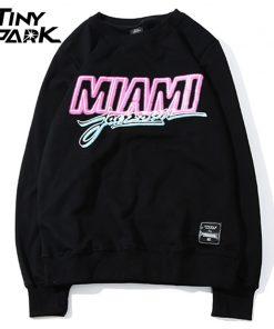 Miami Pullover Sweatshirt Pink Letter Print Men Hip Hop Pullover Sweatshirt Hoodie 2018 Autumn Heat Clothing