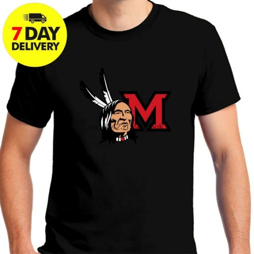 Miami Redskins RedHawks Football Black T Shirt Black Cotton Full Size